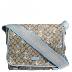 Gucci Beige/Blue GG Supreme Canvas and Leather Zoo Birds Messenger Bag