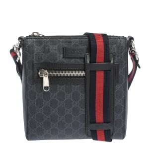 Gucci Black GG Supreme Canvas Small Messenger Bag