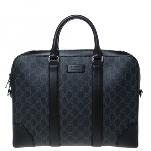 Gucci Black/Grey GG Supreme Canvas and Leather Briefcase