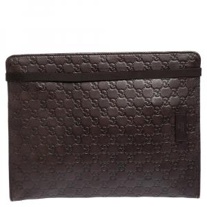 Gucci Dark Brown Guccissima Leather Document Holder