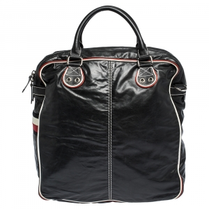 Gucci Black Leather Vintage Weekender Bag