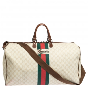 Gucci Ivory/Brown GG Supreme Canvas and Leather Large Web Carry On Duffel Bag