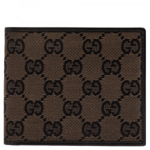 Gucci Black/Brown GG Canvas Bi-Fold Wallet