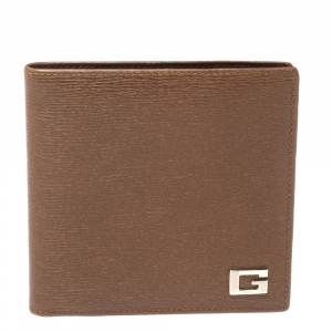 Gucci Brown Leather G Logo Bi Fold Wallet