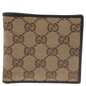 Gucci Beige GG Canvas Bi Fold Wallet