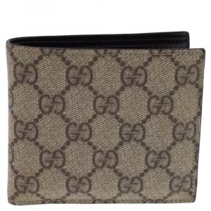 Gucci Beige GG Supreme Canvas Bi Fold Wallet