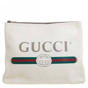 Gucci White Leather Logo Print Zip Pouch