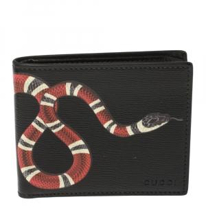 Gucci Black Leather Kingsnake Bifold Wallet