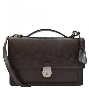 Gucci Brown Leather Top Handle Flap Briefcase Bag