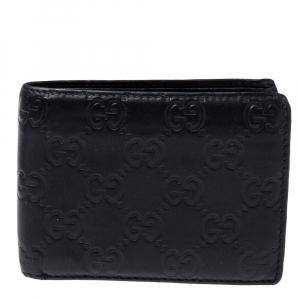 Gucci Black Guccissima Leather Bifold Wallet