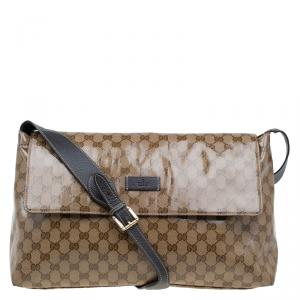 Gucci Beige/Ebony GG Crystal Coated Canvas Messenger Bag