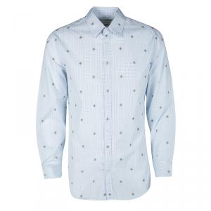 Gucci Blue and White Checked Bee Embroidered Button Front Long Sleeve Shirt L