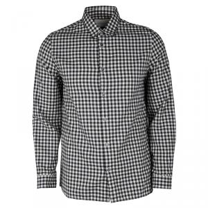 Gucci Monochrome Gingham Checked Cotton Twill Long Sleeve Button Front Shirt M