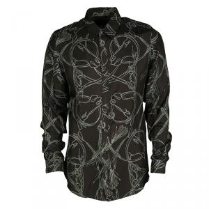 Gucci Brown Horsebit Printed Silk Long Sleeve Slim Fit Shirt M