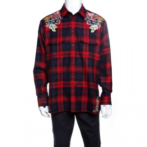 Gucci Red Tartan Plaid Floral and Dragon Embroidered Wool Shirt  XL