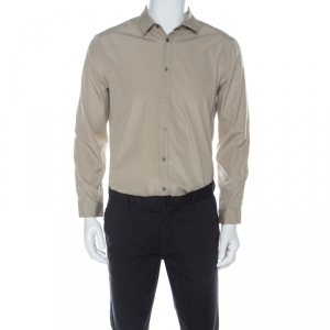 Gucci Beige Cotton Long Sleeve Button Down Cambridge Shirt L