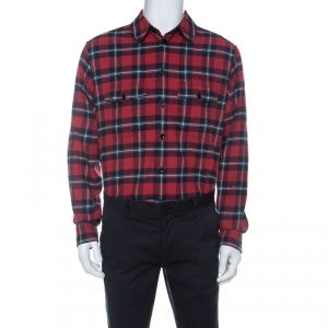 Gucci Red and Navy Blue Plaid Flannel Embroidered Oversized Shirt M