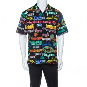 Gucci Multicolor Punk Graphic Print Cotton Short Sleeve Sport Shirt M