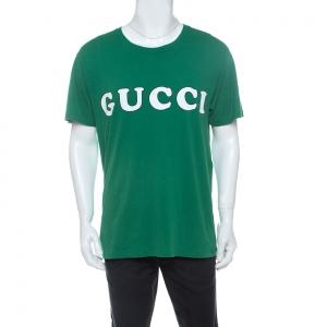 Gucci Green Baby Logo Print Cotton Distressed Detail T-Shirt M