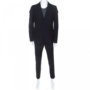 Gucci Navy Blue Wool Two Buttoned Tailored Suit XL