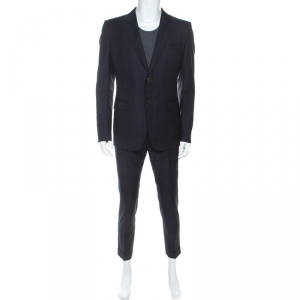 Gucci Navy Blue Striped Wool Tailored Suit M