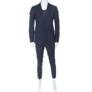 Gucci Blue Glen Check Wool Tailored Suit L