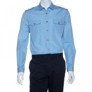 Gucci Blue Cotton Embroidered Epaulette Detail Duke Shirt L