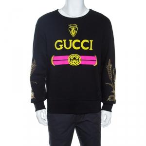 Gucci Black Logo Print Cotton Embellished Sweatshirt S