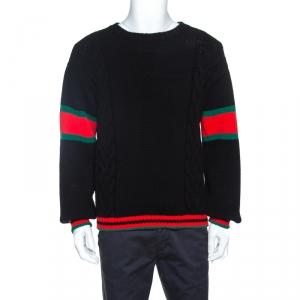 Gucci Black Web Striped Wool Cable Knit Sweater M