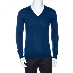 Gucci Navy Blue Wool Long Sleeve V Neck Sweater M