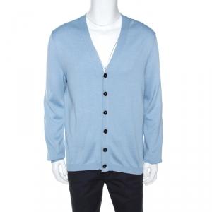 Gucci Light Blue Silk Blend Knit Button Front Cardigan XL