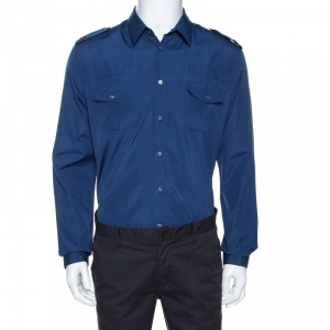 Gucci Midnight Blue Cotton Bee Applique Detail Long Sleeve Shirt XL