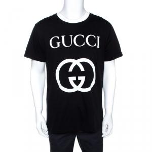 Gucci Black Logo Print Cotton Oversized Crew Neck T-Shirt M