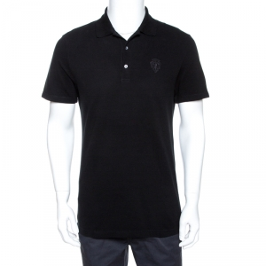 Gucci Black Logo Embroidered Cotton Pique Polo T-Shirt L