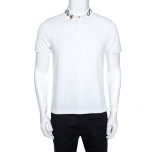 Gucci White Snake Embroidered Cotton Pique Polo T-Shirt L