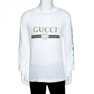 Gucci White Logo Print Cotton Dragon Embroidered T-Shirt M