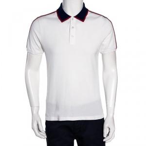 Gucci White Cotton Pique Contrast Stripe Detail Polo T Shirt M