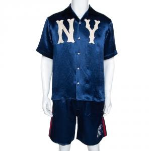 Gucci Blue Satin NY Yankees Bowling Shirt and Shorts Set M