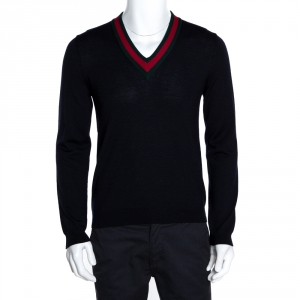 Gucci Ink Blue Wool Web Stripe Detail V Neck Sweater S