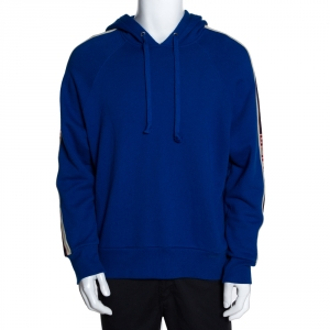 Gucci Royal Blue Cotton Logo Tape Detail Hooded Sweatshirt S