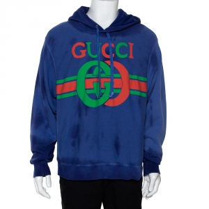 Gucci Purple Logo Print Cotton Washed Effect Hooded Sweatshirt M