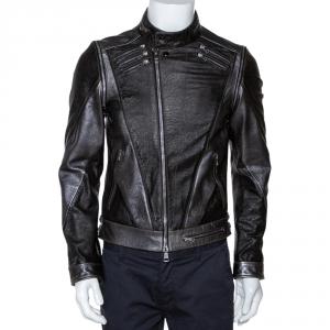 Gucci Brown Metallic Print Leather Detachable Sleeve Biker Jacket S