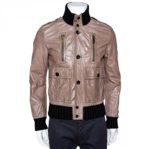 Gucci Brown Leather Rib Knit Trim Madonna Bomber Jacket M
