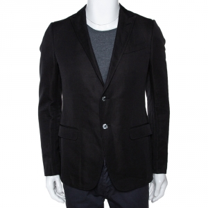 Gucci Black Cotton Lino Blend Two Buttoned Jacket M