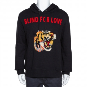 Gucci Black Knit Blind for Love Tiger Patch Hoodie L