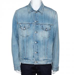 Gucci Light Blue Embroidered Denim Jacket L