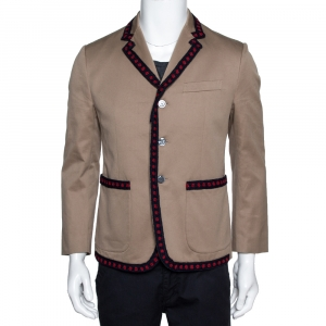 Gucci Beige Cotton Crochet Trim Three Buttoned Jacket M