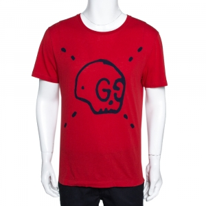 Gucci Red Ghost Print Cotton Crew Neck T-Shirt S