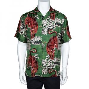 Gucci Green Bengal Tiger Print Silk Bowling Shirt XS