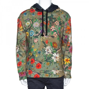 Gucci Olive Green Tea Stained Effect Cotton Flora Snake Print Hoodie L